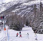 Cogne with snow in winter